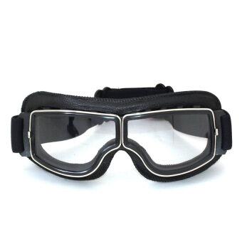 รถจักรยานยนต์มอเตอร์ไซด์แว่นนักบิน Cruiser แว่นตาสีดำกรอบแว่นตาเลนส์ใสหนัง