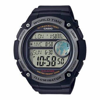 Casio Standard นาฬิกาข้อมือผู้ชาย สายเรซิ่น รุ่น AE-3000W-1AV - 10th year battery