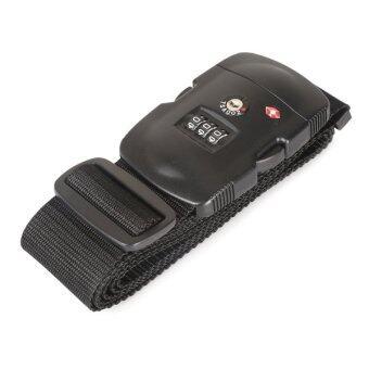 TravelGear24 สายรัดกระเป๋าเดินทาง TSA พร้อมรหัสล็อก Travel Luggage Belt Suitcase TSA Strap - สีดำ/Black
