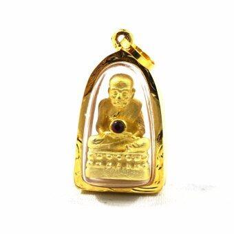 จี้หลวงปู่ทวดติดพลอยแดง กรอบทองคำแท้