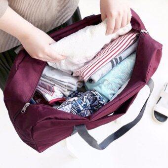 TravelGear24 กระเป๋าเดินทางแบบพับได้ กระเป๋าเดินทางแบบพกพา ล็อกกับกระเป๋าเดินทางได้ Travel Strip Foldable Bag (Red/สีแดง)) (image 1)