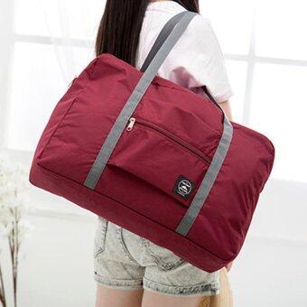 TravelGear24 กระเป๋าเดินทางแบบพับได้ กระเป๋าเดินทางแบบพกพา ล็อกกับกระเป๋าเดินทางได้ Travel Strip Foldable Bag (Red/สีแดง)) (image 3)