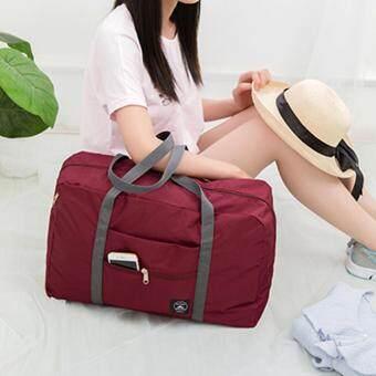 TravelGear24 กระเป๋าเดินทางแบบพับได้ กระเป๋าเดินทางแบบพกพา ล็อกกับกระเป๋าเดินทางได้ Travel Strip Foldable Bag (Red/สีแดง)) (image 4)