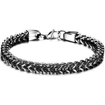 Harga Men's Titanium Steel Chains Bangle Never Fade Bracelet - intl