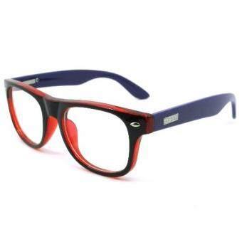 KOREA แว่นตาเด็ก สำหรับเด็กอายุ 6-12 ปี 2140 สีดำเงาตัดแดงขาม่วง (ขาสปริง)(โปร่งใส Black)