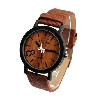 คนสบายไม้วินเทจนาฬิกาข้อมือสายหนังผลึก