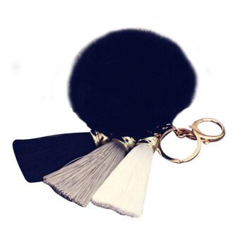 ลูกกระต่ายน่ารักขนนุ่มพู่กระเป๋าถือกุญแจรถจี้โทรศัพท์มือถือโซ่ห่วงสีดำ