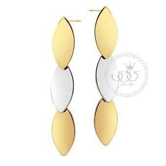555jewelry ต่างหูแบบก้านเสียบ รูปทรงใบไม้ 3 ใบ รุ่น MNC-ER120-B2 - Yellow Gold