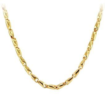 555jewelry สายสร้อยแบบปั้มนูนลายก้ามปู รุ่น MNC-C043-B สี ทอง สร้อยเปล่า สร้อยคอสแตนเลส (CH13)