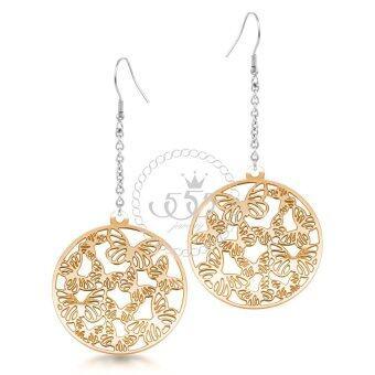 555jewelry ต่างหูแบบห้อยรูปวงกลมฉลุ รุ่น MNC-ER021-B - สี พิ้งโกลด์