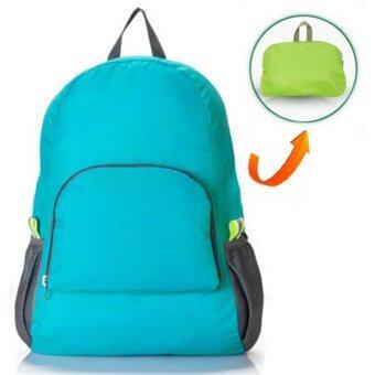 RICHCOCO กระเป๋าเป้ ไนล่อนกันน้ำ พับเก็บได้ สีฟ้า