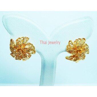 Thai Jewelry ต่างหูทองคำ ลายดอกไม้ งานชุบทองไมครอน ชุบด้วยเศษทองคำแท้ 96.5 %