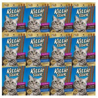 Pet8 Kittie Stick Cat Treat Tuna Flavour + Taurine 6 Sticks (12 packs) อาหารแมว ขนมแมว รสปลาทูน่า + ทอรีน 6 แท่ง (12 ห่อ)