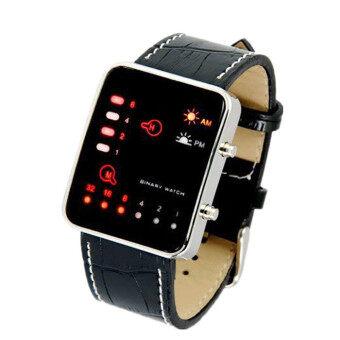ดิจิตอลสีแดงสองนาฬิกาข้อมือนาฬิกาข้อมือ Led กีฬาสตรีบุรุษหนัง Pu สีดำ