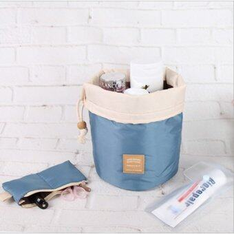 TravelGear24 กระเป๋าจัดระเบียบ กระเป๋าเครื่องสำอางค์ กระเป๋าใส่แปรงแต่งหน้า ทรงกระบอก Cosmetic Case Bag (Blue/สีฟ้า)