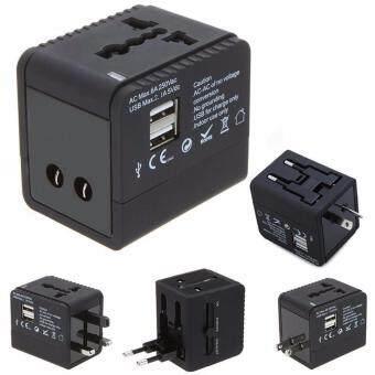 ปลั๊กไฟ Dual USB Universal Adapter All in One รุ่น Square สีดำ พร้อม USB เสียบชาร์ตแบตมือถือ/ไอแพด ใช้ได้ทั่วโลก US/UK/EU/AU รองรับกระแสไฟฟ้า 100-250 โวลต์