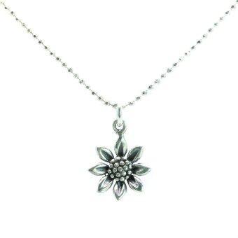Trendy Diamond สร้อยคอพร้อมจี้ดอกไม้เงินแท้ ยาว 18 นิ้ว - Silver
