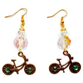 ต่างหูคริสตัสประดับจี้จักรยาน สำหรับสาวๆ ที่รักการปั่นจักรยานเป็นชีวิตจิตใจ