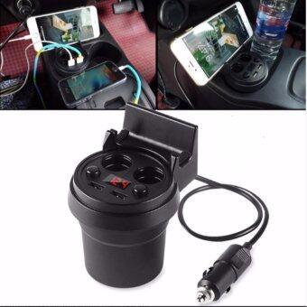 Multifunctional Cup Shape Car Charger 4 IN 1 ถ้วยขยายช่องจุดบุหรี่ 2 ช่อง USB 2 port ในรถยนต์ หน้าจอแสดงผลวัดค่าวัดแบตเตอรี่ (image 3)