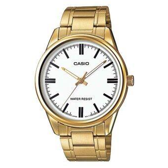 Casio นาฬิกาข้อมือ สายสเตนเลสสตีล สีทอง/เงิน รุ่น MTP-V005G-7AUDF