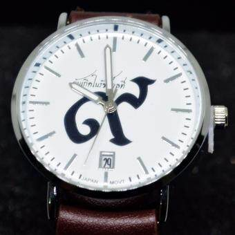 นาฬิกาข้อมือหญิงฉันเกิดในรัชกาลที่ ๙ ระบบ Quartz เรือนเงินหน้าปัดขาว สายหนัง มีวันที่ พร้อมกล่อง รุ่น w-9