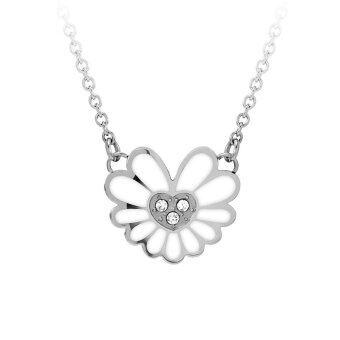 555jewelry จี้พร้อมสร้อย สแตนเลสสตีล - จี้ดีไซน์สวยรูปดอกไม้ (สี ขาว-สตีล)