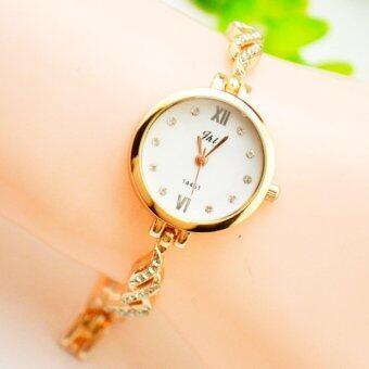 KPshop นาฬิกาผู้หญิงสแตนเลส นาฬิกาข้อมือแฟชั่น นาฬิกาผู้หญิงนิยม รุ่น LC-023 (สีทอง)
