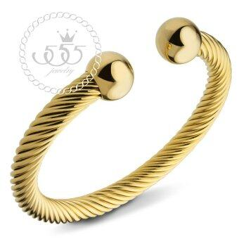 555jewelry เครื่องประดับ กำไลข้อมือ สแตนเลสสตีล ลายเกลียวรูปตัว C รุ่น MNC-BG273-B (สี ทอง)