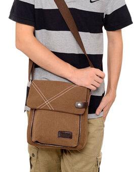 กระเป๋าผ้าใบแบบพวกแมสเซนเจอร์ธรรมดาคนธรรมดากระเป๋าสะพายไหล่กระเป๋านักเรียนเรียนท่องเที่ยวกระเป๋า (สีน้ำตาล)