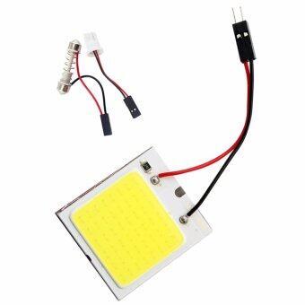 ไฟห้องโดยสาร LED แบบแผง SMD 48 ดวง แสงสีขาว พร้อมขั้ว T10 และขั้วสปริงปรับขนาดได้