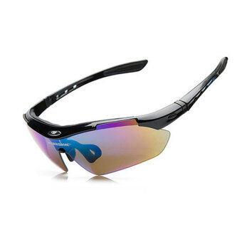 Oscar Cycling Polarized Sunglasses ชุดแว่นกันแดดขับจักรยาน เปลี่ยนเลนส์ได้ 5สี กล่องแว่นตา แว่นตาแฟชั่น กรอบแว่นสายตา แว่นตากันแดด ออกกำลังกายกรอบสีน้ำเงิน