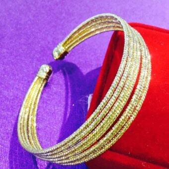 MONO Jewelryกำไลข้อมือเศษทองมัด7เส้นพ่นทราย รุ่นMN05J(Gold)