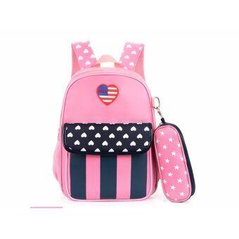 D2KIDS กระเป๋านักเรียนลายธงชาติสหรัฐอเมริกา ไม่มีกระเป๋าใส่ดินสอ (สีชมพู)