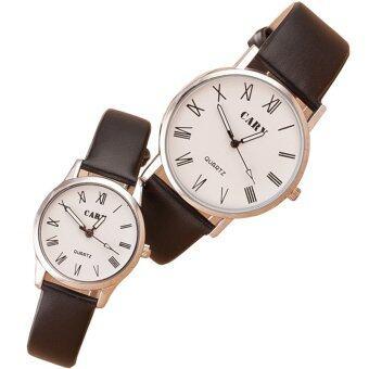 MEGA Quartz Waterproof Slim PU Leather Wristwatch Lover Couple Watch หรูหรานาฬิกาข้อมือ สายหนัง กันน้ำ นาฬิกาคู่ รุ่น MG0011 (White)