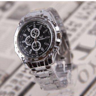 ลักสเตนเลสธุรกิจนาฬิกากันน้ำรัดร่างผลึกสีดำ
