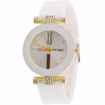 MEGA Luxury Casual Crystal Silicone Jelly Quartz Watch คริสตัล ซิลิโคนหรูหราแฟชั่นนาฬิกาข้อมือผู้หญิง รุ่น MG0029 (White)