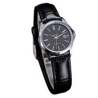 SA128 ควอทซ์สายหนังนาฬิกาข้อมือของขวัญธุรกิจคล้ายคลึง (สีดำ)-