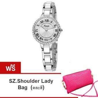 Kimio นาฬิกาข้อมือผู้หญิง สีเงิน/ขาว สาย Alloy รุ่น KW506 ( แถมฟรี SZ. Shoulder Lady Bag คละสี 1ใบ มูลค่า 299-)