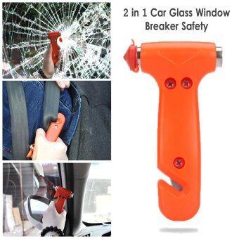 DTG ค้อนทุบกระจกรถยนต์ ค้อนฉุกเฉินชนิด 2 หัว พร้อมที่ตัดสายเข็มขัด (จำนวน 1ชิ้น)-สีส้ม