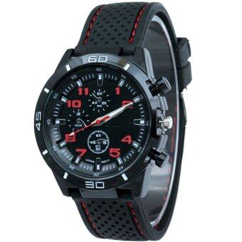 MEGA Sport Quartz Fashion F1 Racing Luxury Watch Military Army Wristwatches หรูหรานาฬิกาข้อมือ สายหนัง กันน้ำ รุ่น MG0017 (Red)