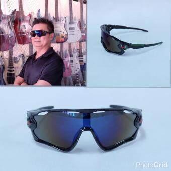 Hayashi - แว่นตาสำหรับปั่นจักรยาน แว่นตากันแดดเล่นกีฬา รุ่น Classic Joker เลนส์สีเทา กรอบสีดำ/เขียว