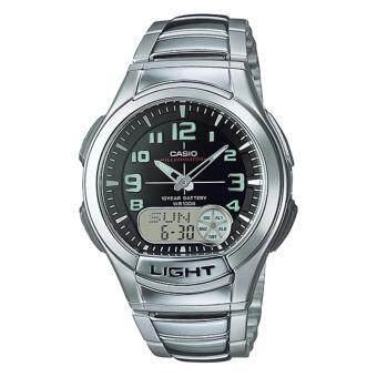 Casio Standard นาฬิกาข้อมือผู้ชาย สีเงิน/ดำ สายเรซิ่น รุ่น AQ-180WD-1BV