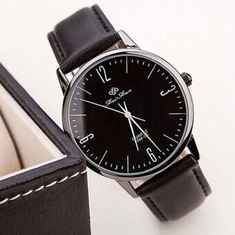แฟชั่นล้ำ ๆ นาฬิกาข้อมือชายหญิงปกตินาฬิกาควอทซ์หนังสีดำ