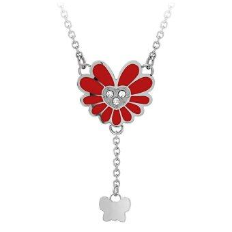 555jewelry จี้พร้อมสร้อย สแตนเลสสตีล - จี้ดีไซน์สวยรูปดอกไม้ (สี แดง-สตีล)