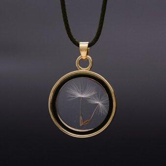 Meaningful Jewelry สร้อยคอนำโชค [Make A Wish : ทุกคำอธิษฐานเป็นจริง] สร้อยพร้อมจี้ดอก Dandelion ในกรอบ