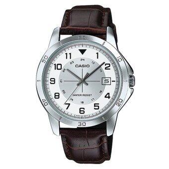Casio Standard นาฬิกาข้อมือผู้ชาย สายหนัง รุ่น MTP-V008L-7B2UDF (หน้าขาว)