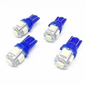 (4 ตัว) ไฟ LED SMD ขั้ว T10 5 เม็ด แสงสีน้ำเงินใส (ไอซ์บลู)