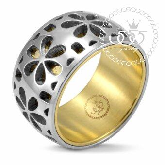 555jewelry แหวน ฉลุลายดอกไม้ รุ่น MNR-229T-B (Yellow Gold)
