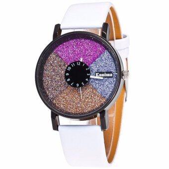 MEGA Bling PU Leather Analog Quartz Lady Watch หรูหราแฟชั่นนาฬิกาข้อมือผู้หญิง รุ่น MG0031 (White)
