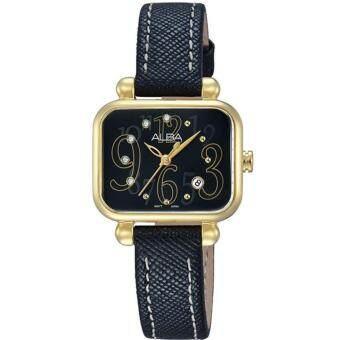 ALBA นาฬิกาข้อมือผู้หญิง สี่เหลี่ยมสีทองสายหนังสีดำ รุ่น AH7K08X1
